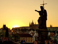 Sunset over the castle, from the Charles bridge.